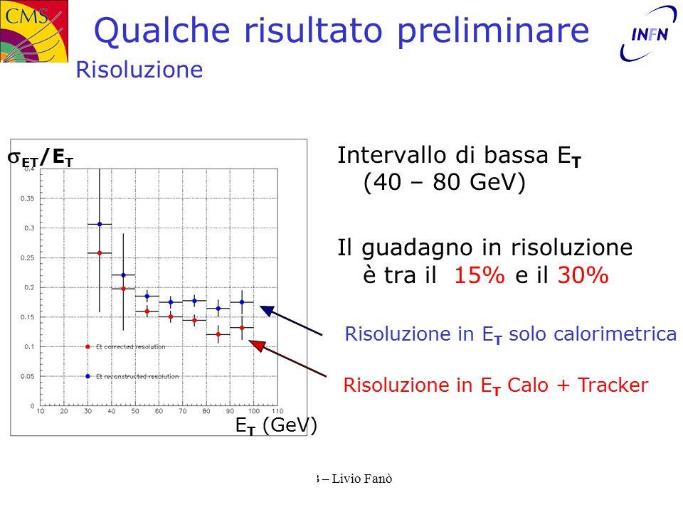 11/10/2002TISB – Livio Fanò Qualche risultato preliminare Intervallo di bassa E T (40 – 80 GeV) Il guadagno in risoluzione è tra il 15% e il 30% Risoluzione  ET /E T E T (GeV) Risoluzione in E T Calo + Tracker Risoluzione in E T solo calorimetrica