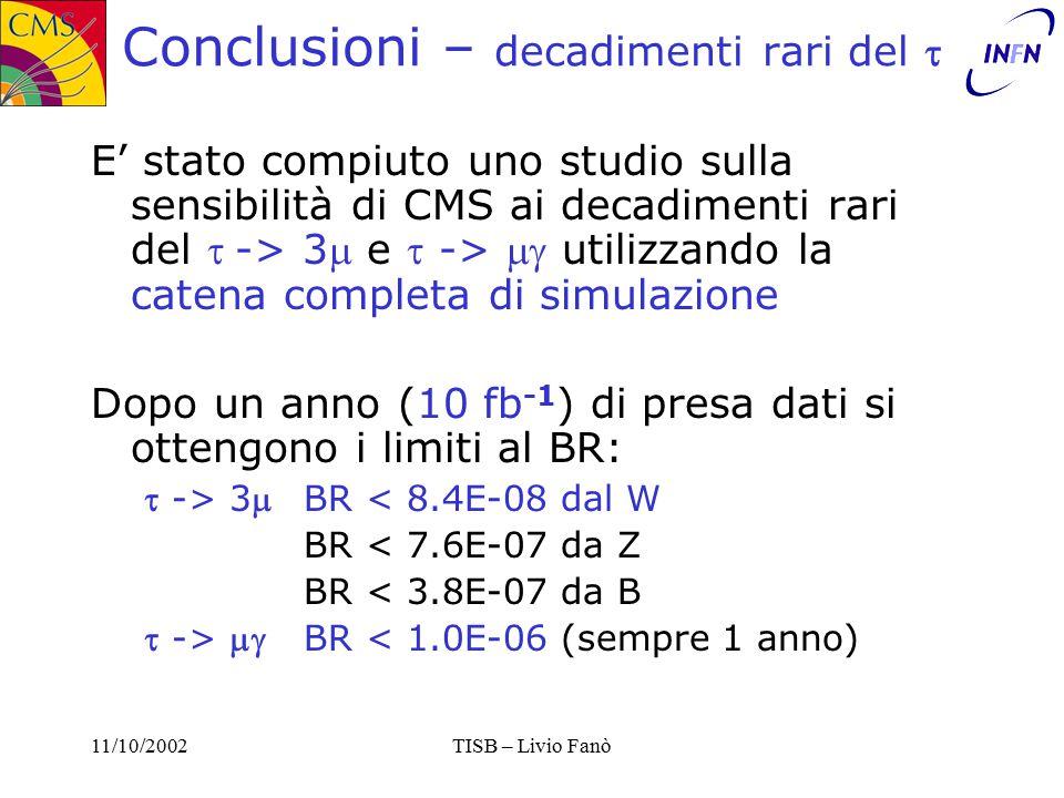 11/10/2002TISB – Livio Fanò Conclusioni – decadimenti rari del  E' stato compiuto uno studio sulla sensibilità di CMS ai decadimenti rari del -> 3 e  ->  utilizzando la catena completa di simulazione Dopo un anno (10 fb -1 ) di presa dati si ottengono i limiti al BR:  -> 3BR < 8.4E-08 dal W BR < 7.6E-07 da Z BR < 3.8E-07 da B  -> BR < 1.0E-06 (sempre 1 anno)