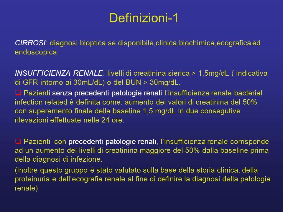 Definizioni-1 CIRROSI: diagnosi bioptica se disponibile,clinica,biochimica,ecografica ed endoscopica. INSUFFICIENZA RENALE: livelli di creatinina sier