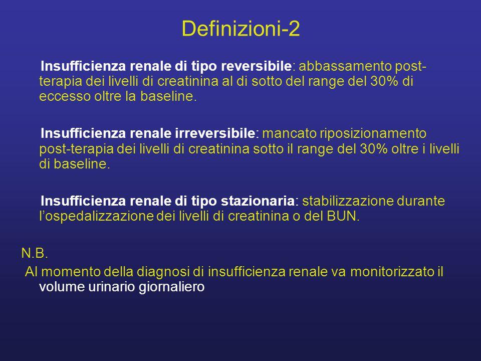 Definizioni-2 Insufficienza renale di tipo reversibile: abbassamento post- terapia dei livelli di creatinina al di sotto del range del 30% di eccesso