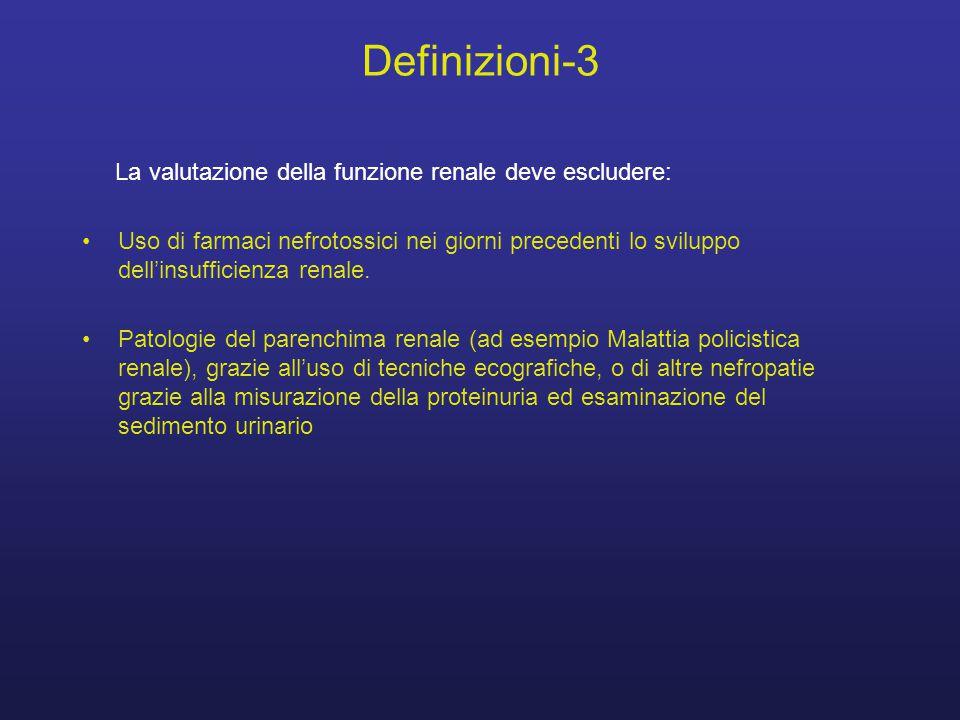 Definizioni-3 La valutazione della funzione renale deve escludere: Uso di farmaci nefrotossici nei giorni precedenti lo sviluppo dell'insufficienza re