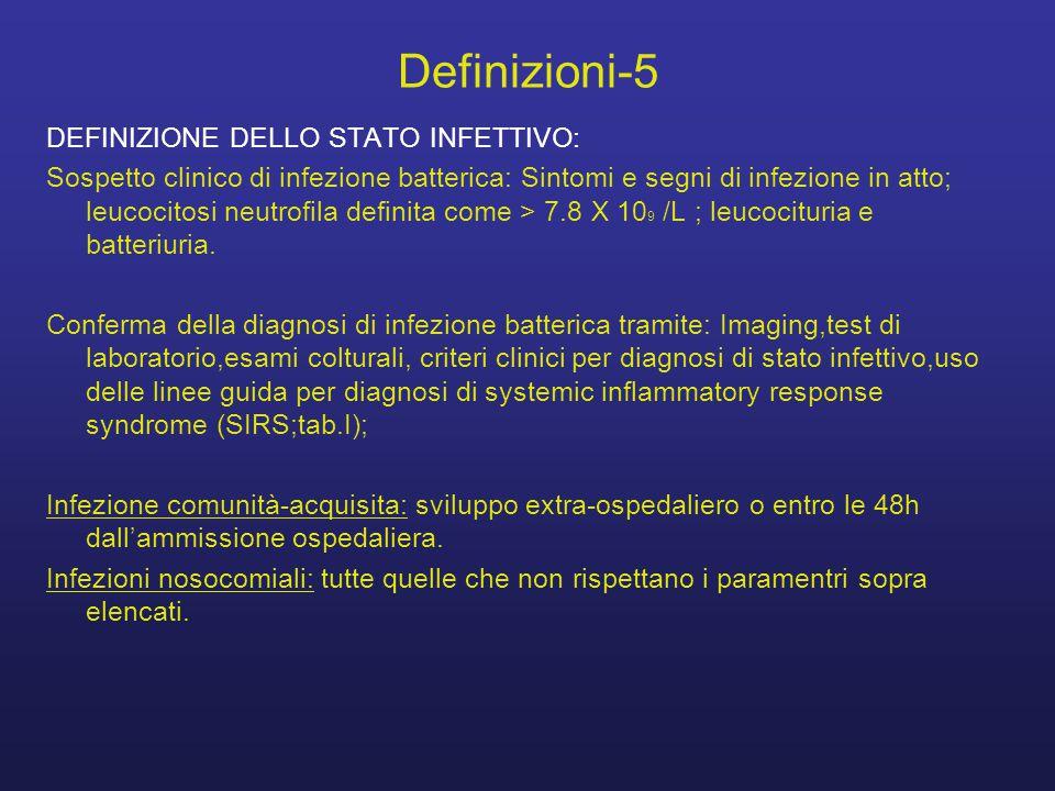 Definizioni-5 DEFINIZIONE DELLO STATO INFETTIVO: Sospetto clinico di infezione batterica: Sintomi e segni di infezione in atto; leucocitosi neutrofila definita come > 7.8 X 10 9 /L ; leucocituria e batteriuria.