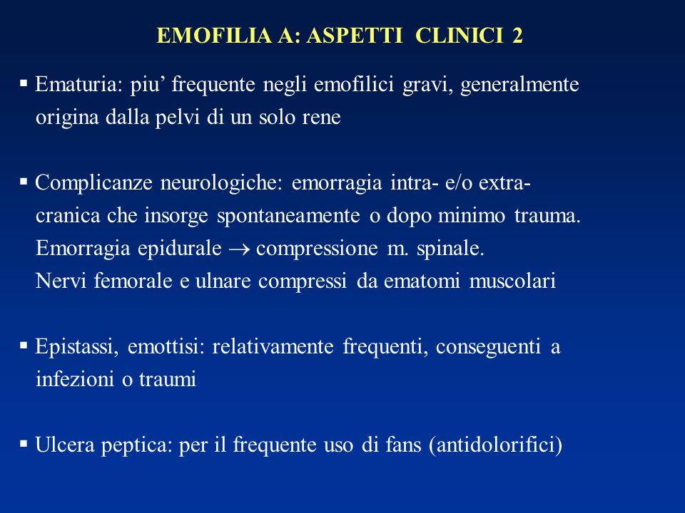 EMOFILIA A: ASPETTI CLINICI 2   maturia: piu' frequente negli emofilici gravi, generalmente origina dalla pelvi di un solo rene  Complicanze neurol