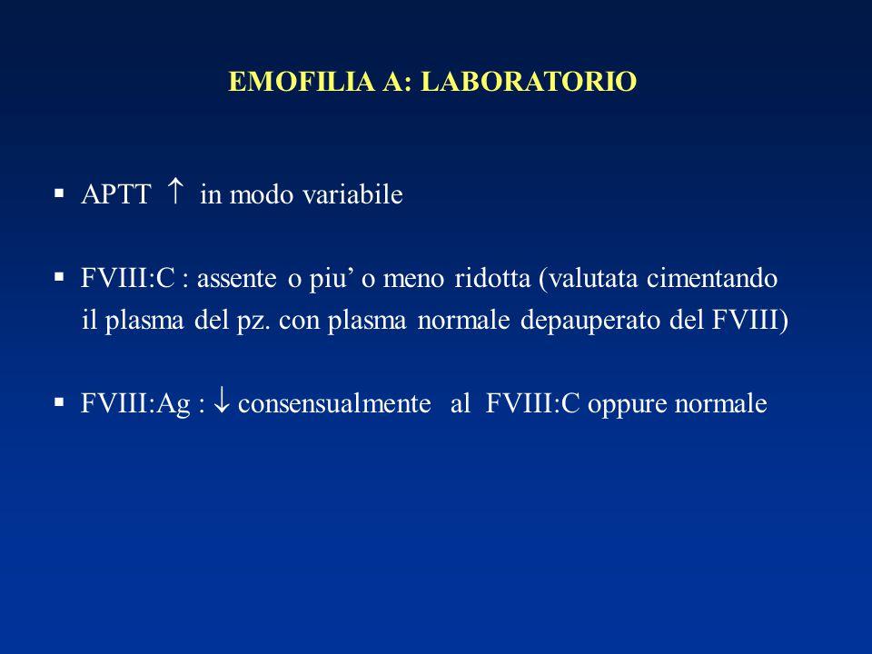 EMOFILIA A: LABORATORIO  APTT  in modo variabile  FVIII:C : assente o piu' o meno ridotta (valutata cimentando il plasma del pz. con plasma normale