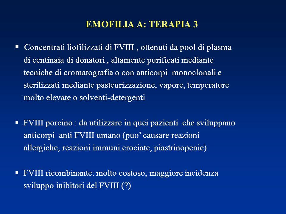 EMOFILIA A: TERAPIA 3  Concentrati liofilizzati di FVIII, ottenuti da pool di plasma di centinaia di donatori, altamente purificati mediante tecniche