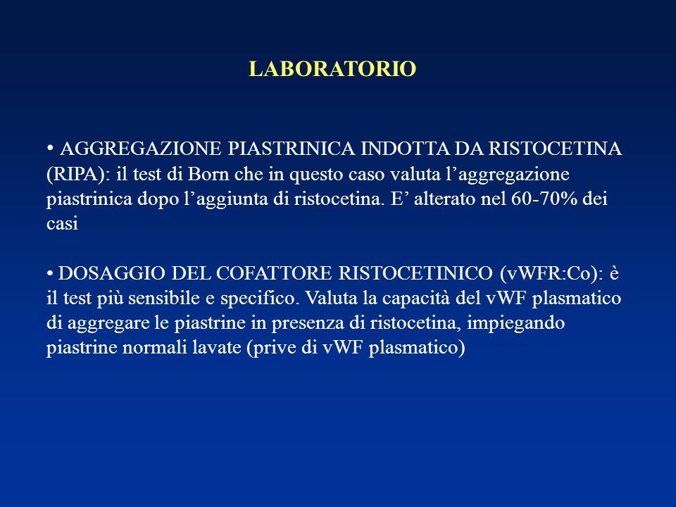 LABORATORIO AGGREGAZIONE PIASTRINICA INDOTTA DA RISTOCETINA (RIPA): il test di Born che in questo caso valuta l'aggregazione piastrinica dopo l'aggiun
