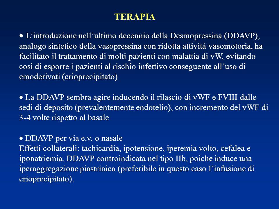 TERAPIA  L'introduzione nell'ultimo decennio della Desmopressina (DDAVP), analogo sintetico della vasopressina con ridotta attività vasomotoria, ha f