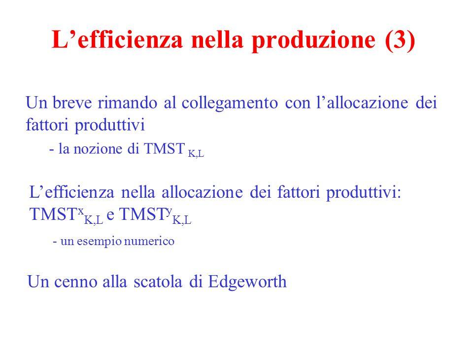 L'efficienza nella produzione (3) Un breve rimando al collegamento con l'allocazione dei fattori produttivi - la nozione di TMST K,L L'efficienza nell