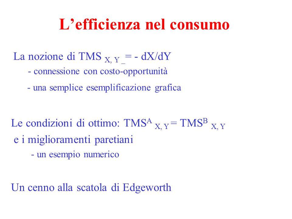 L'efficienza nel consumo La nozione di TMS X, Y _ = - dX/dY - connessione con costo-opportunità - una semplice esemplificazione grafica Le condizioni