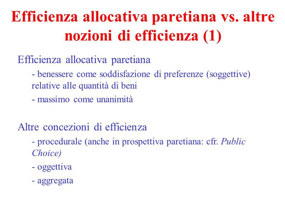 Efficienza allocativa paretiana vs. altre nozioni di efficienza (1) Efficienza allocativa paretiana - benessere come soddisfazione di preferenze (sogg