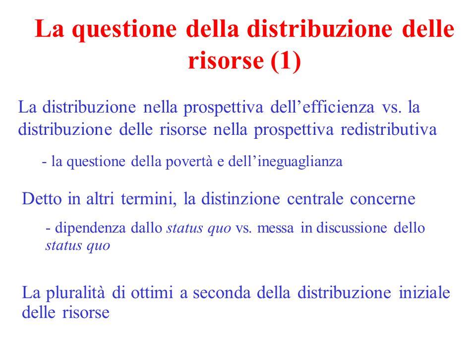 La questione della distribuzione delle risorse (1) La distribuzione nella prospettiva dell'efficienza vs. la distribuzione delle risorse nella prospet