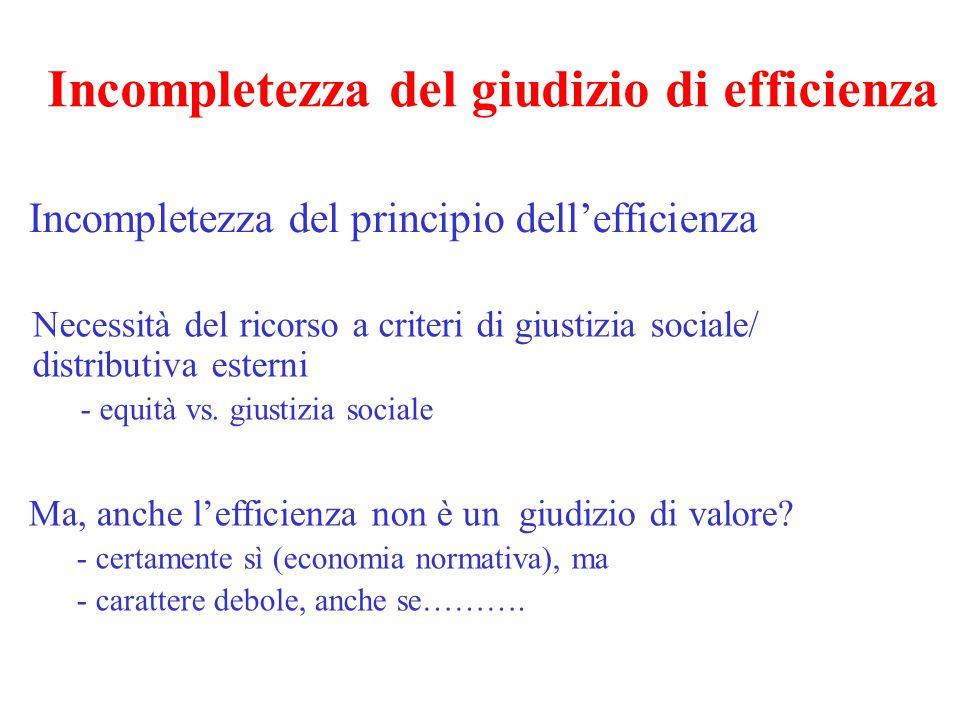 Incompletezza del giudizio di efficienza Incompletezza del principio dell'efficienza Necessità del ricorso a criteri di giustizia sociale/ distributiv