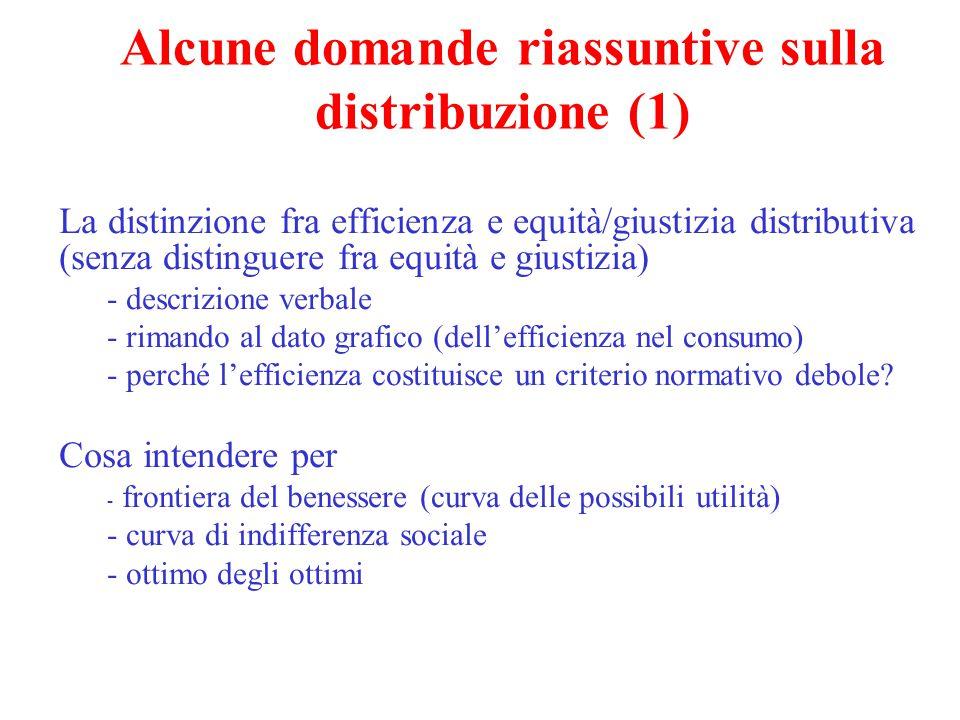 La distinzione fra efficienza e equità/giustizia distributiva (senza distinguere fra equità e giustizia) - descrizione verbale - rimando al dato grafi