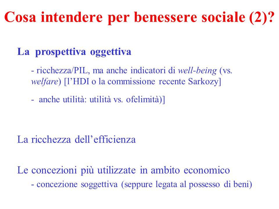 Cosa intendere per benessere sociale (2)? La prospettiva oggettiva - ricchezza/PIL, ma anche indicatori di well-being (vs. welfare) [l'HDI o la commis