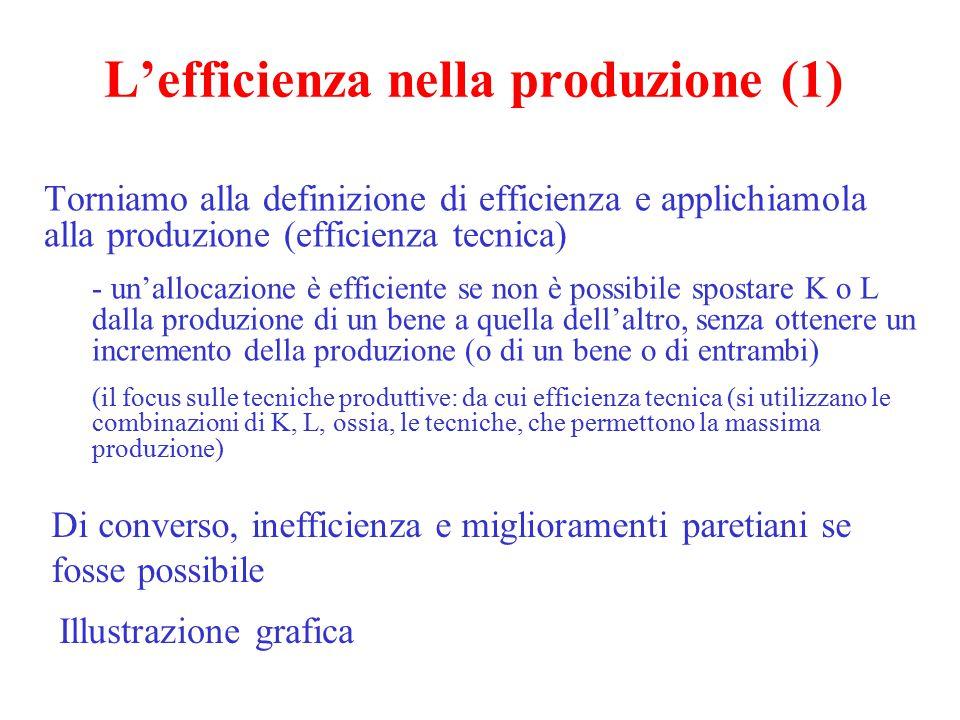 L'efficienza nella produzione (1) Torniamo alla definizione di efficienza e applichiamola alla produzione (efficienza tecnica) - un'allocazione è effi