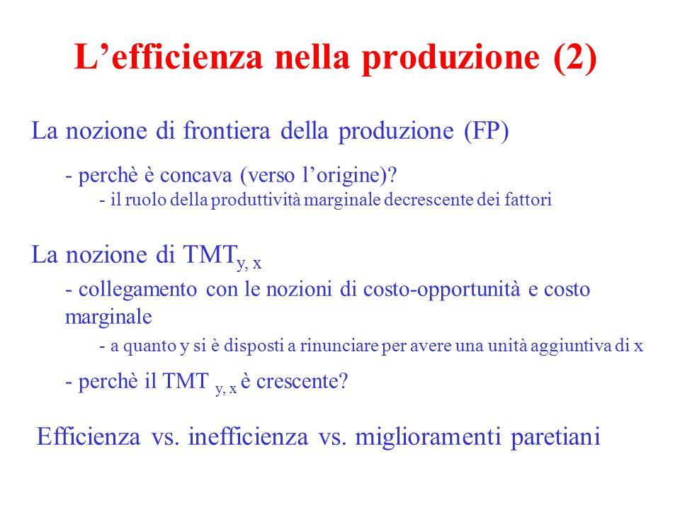 L'efficienza nella produzione (2) La nozione di frontiera della produzione (FP) - perchè è concava (verso l'origine)? - il ruolo della produttività ma