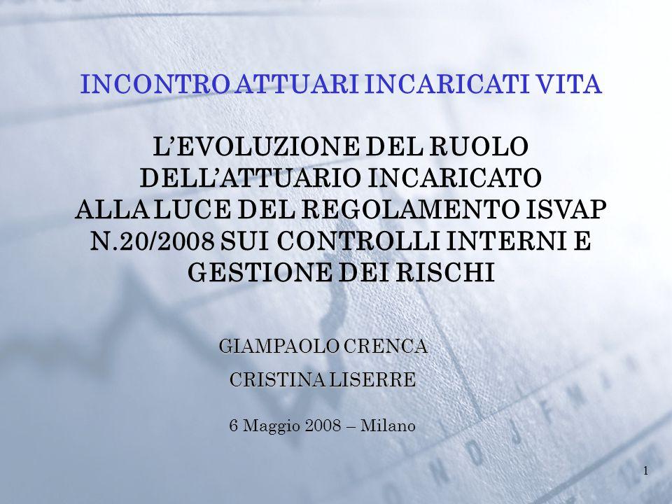 1 6 Maggio 2008 – Milano INCONTRO ATTUARI INCARICATI VITA L'EVOLUZIONE DEL RUOLO DELL'ATTUARIO INCARICATO ALLA LUCE DEL REGOLAMENTO ISVAP N.20/2008 SUI CONTROLLI INTERNI E GESTIONE DEI RISCHI GIAMPAOLO CRENCA CRISTINA LISERRE