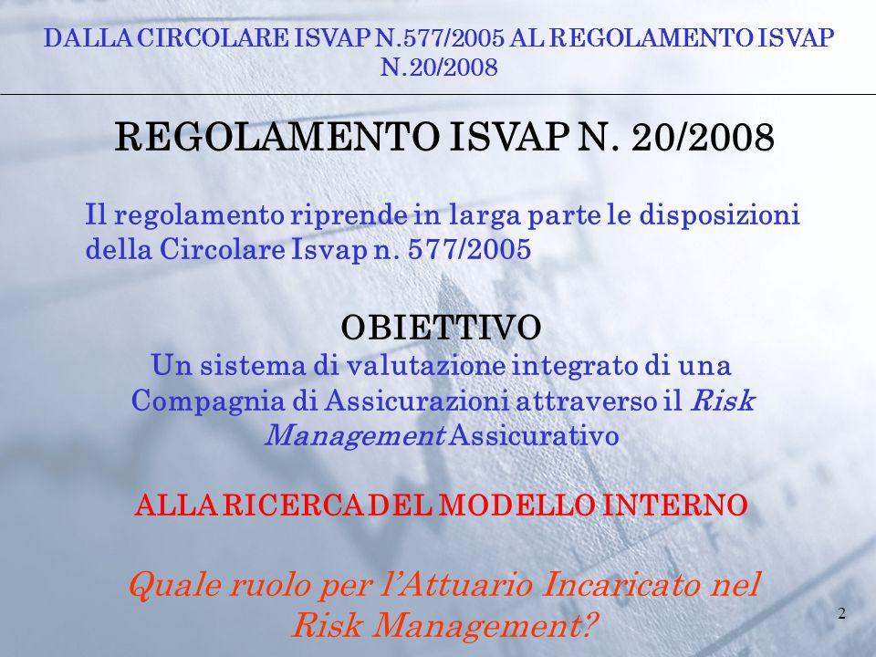 2 REGOLAMENTO ISVAP N. 20/2008 Il regolamento riprende in larga parte le disposizioni della Circolare Isvap n. 577/2005 OBIETTIVO Un sistema di valuta
