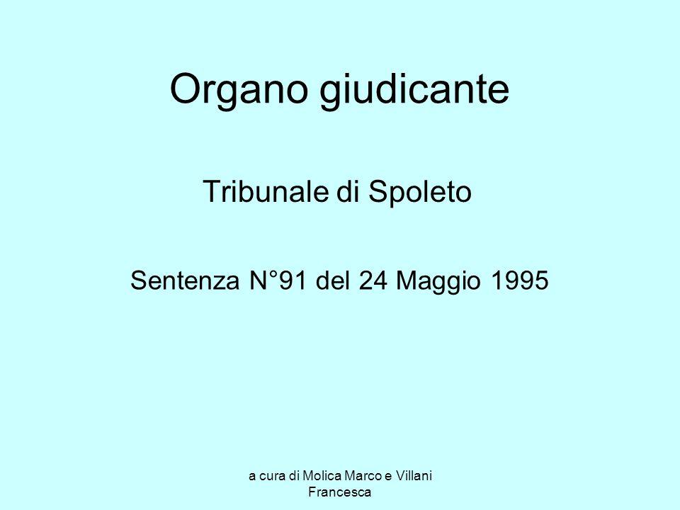 a cura di Molica Marco e Villani Francesca Organo giudicante Tribunale di Spoleto Sentenza N°91 del 24 Maggio 1995