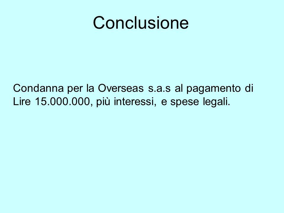 Conclusione Condanna per la Overseas s.a.s al pagamento di Lire 15.000.000, più interessi, e spese legali.