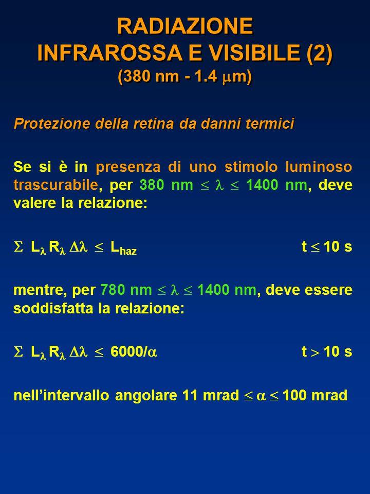 RADIAZIONE INFRAROSSA E VISIBILE (2) (380 nm - 1.4  m) Protezione della retina da danni termici Se si è in presenza di uno stimolo luminoso trascurabile, per 380 nm   1400 nm, deve valere la relazione:  L  R  L haz t  10 s mentre, per 780 nm   1400 nm, deve essere soddisfatta la relazione:  L  R  6000/  t  10 s nell'intervallo angolare 11 mrad   100 mrad
