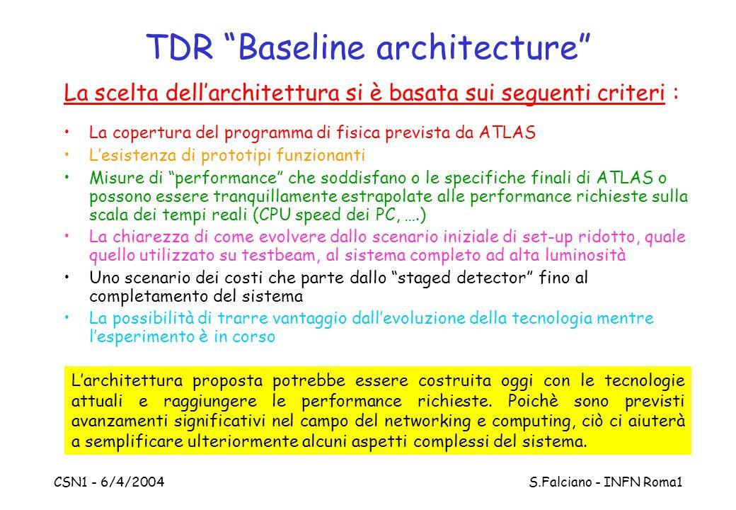 """CSN1 - 6/4/2004 S.Falciano - INFN Roma1 TDR """"Baseline architecture"""" La scelta dell'architettura si è basata sui seguenti criteri : La copertura del pr"""