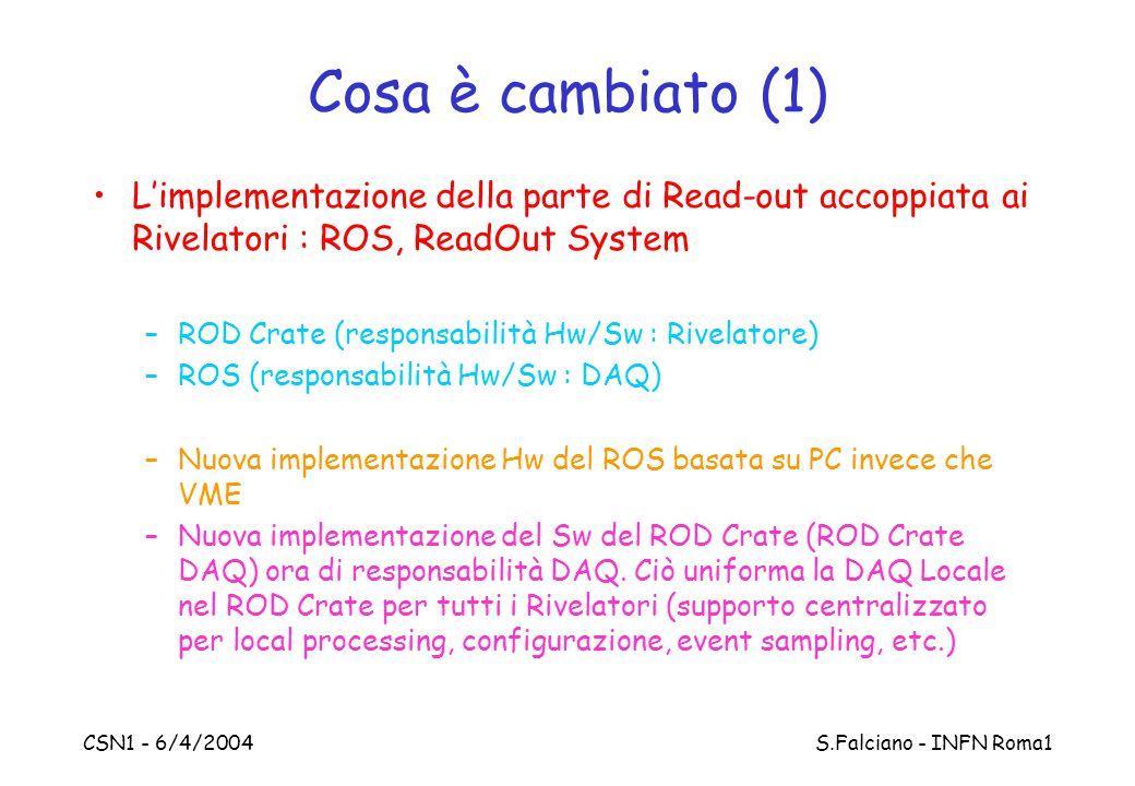 CSN1 - 6/4/2004 S.Falciano - INFN Roma1 Cosa è cambiato (1) L'implementazione della parte di Read-out accoppiata ai Rivelatori : ROS, ReadOut System –ROD Crate (responsabilità Hw/Sw : Rivelatore) –ROS (responsabilità Hw/Sw : DAQ) –Nuova implementazione Hw del ROS basata su PC invece che VME –Nuova implementazione del Sw del ROD Crate (ROD Crate DAQ) ora di responsabilità DAQ.