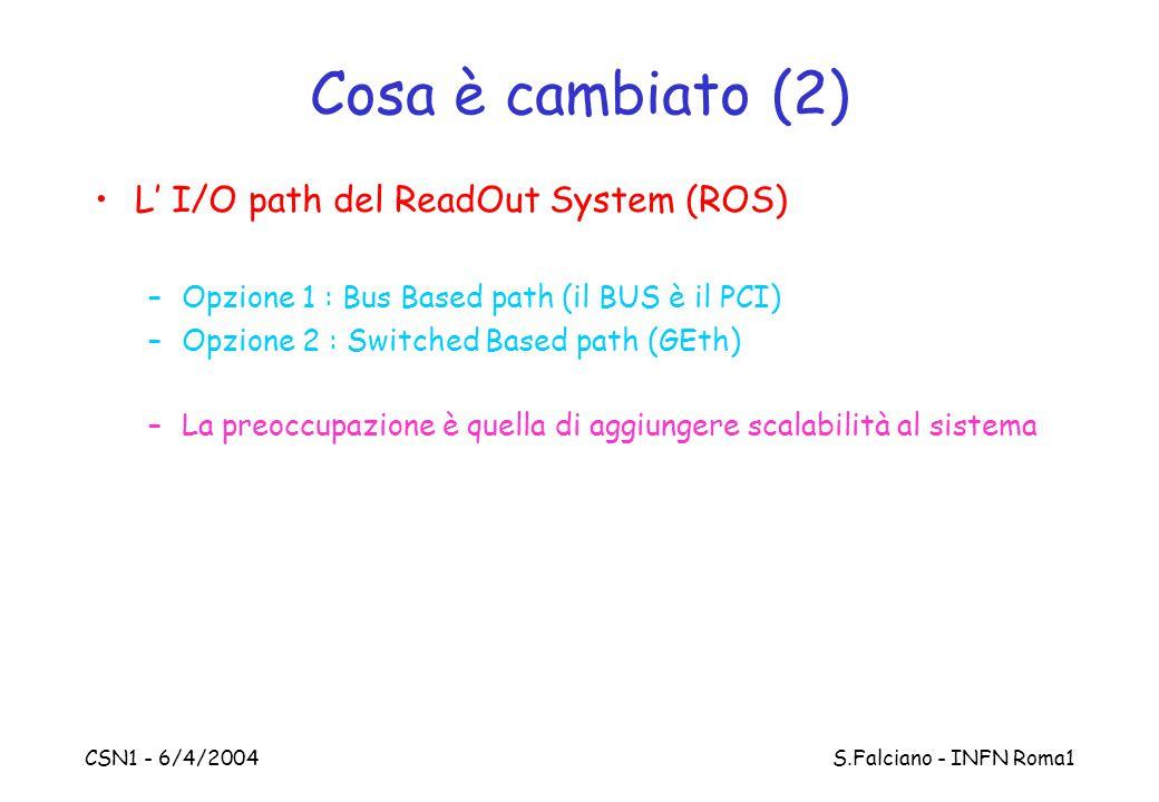 CSN1 - 6/4/2004 S.Falciano - INFN Roma1 Cosa è cambiato (2) L' I/O path del ReadOut System (ROS) –Opzione 1 : Bus Based path (il BUS è il PCI) –Opzion