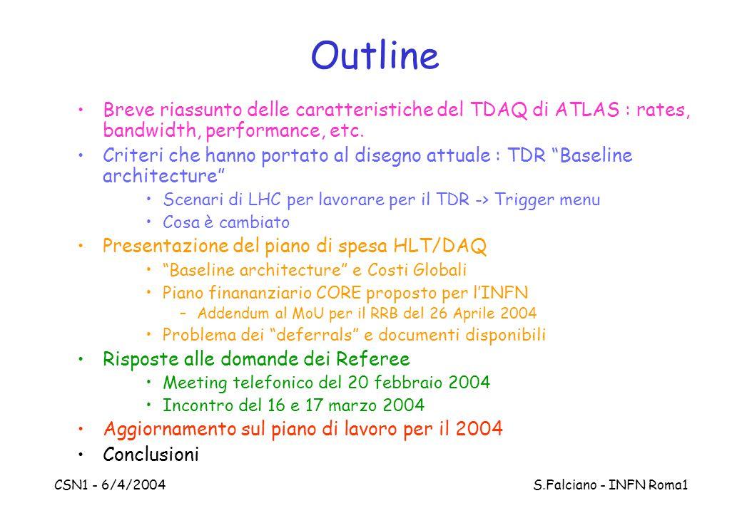 CSN1 - 6/4/2004 S.Falciano - INFN Roma1 Outline Breve riassunto delle caratteristiche del TDAQ di ATLAS : rates, bandwidth, performance, etc. Criteri