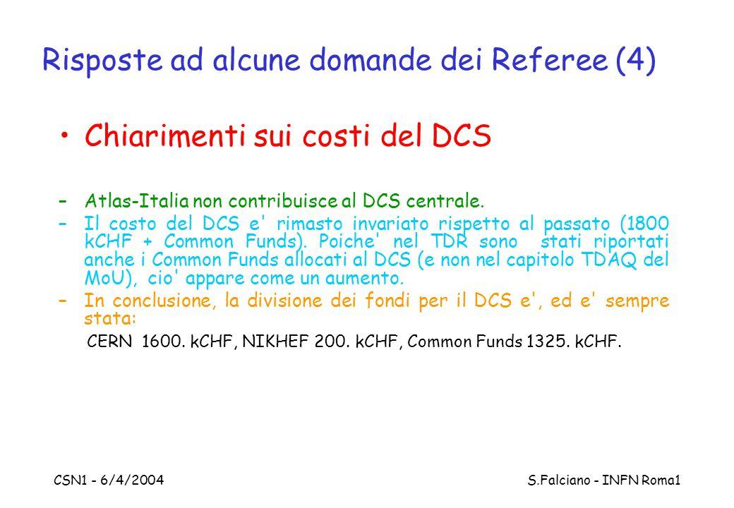 CSN1 - 6/4/2004 S.Falciano - INFN Roma1 Risposte ad alcune domande dei Referee (4) Chiarimenti sui costi del DCS –Atlas-Italia non contribuisce al DCS centrale.