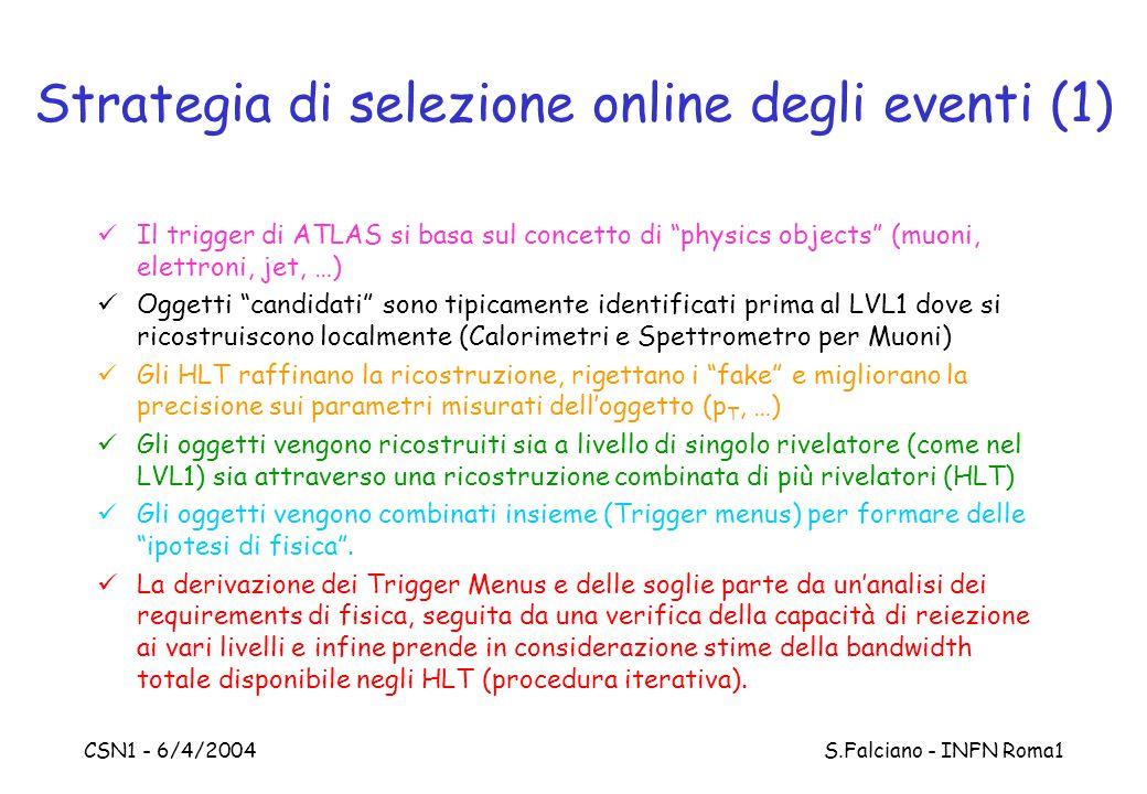 """CSN1 - 6/4/2004 S.Falciano - INFN Roma1 Strategia di selezione online degli eventi (1) Il trigger di ATLAS si basa sul concetto di """"physics objects"""" ("""