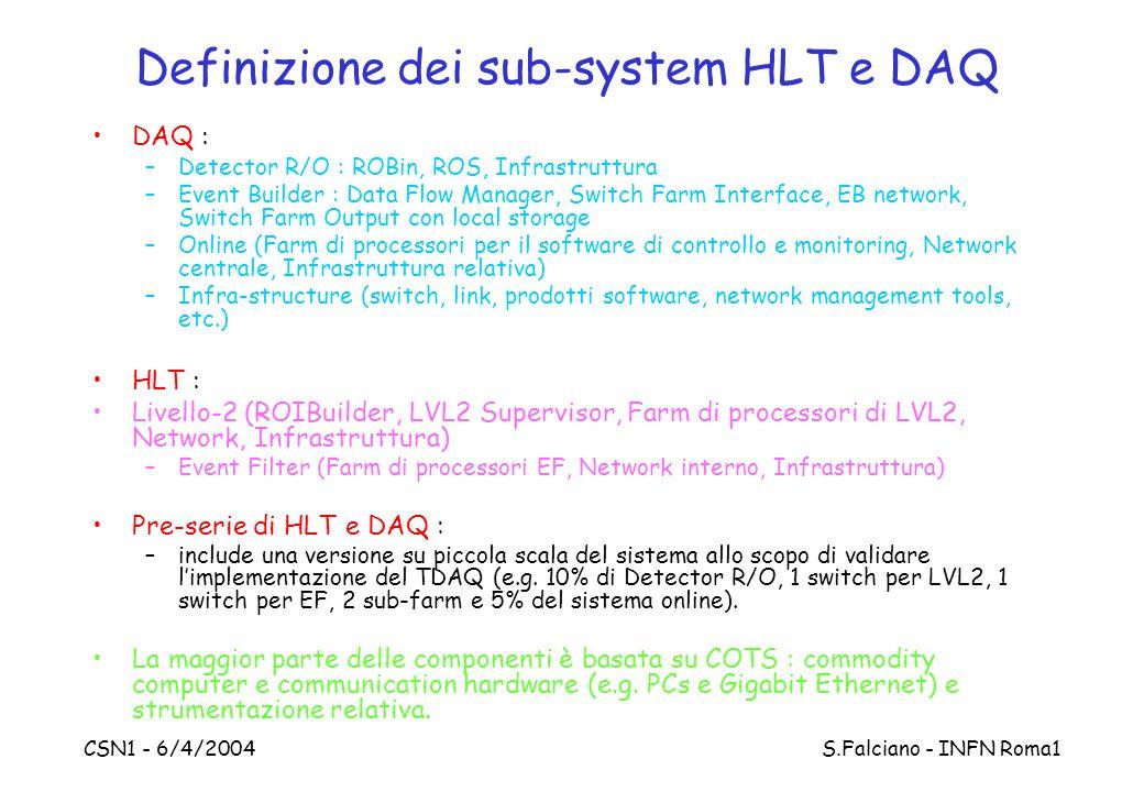 CSN1 - 6/4/2004 S.Falciano - INFN Roma1 Definizione dei sub-system HLT e DAQ DAQ : –Detector R/O : ROBin, ROS, Infrastruttura –Event Builder : Data Flow Manager, Switch Farm Interface, EB network, Switch Farm Output con local storage –Online (Farm di processori per il software di controllo e monitoring, Network centrale, Infrastruttura relativa) –Infra-structure (switch, link, prodotti software, network management tools, etc.) HLT : Livello-2 (ROIBuilder, LVL2 Supervisor, Farm di processori di LVL2, Network, Infrastruttura) –Event Filter (Farm di processori EF, Network interno, Infrastruttura) Pre-serie di HLT e DAQ : –include una versione su piccola scala del sistema allo scopo di validare l'implementazione del TDAQ (e.g.