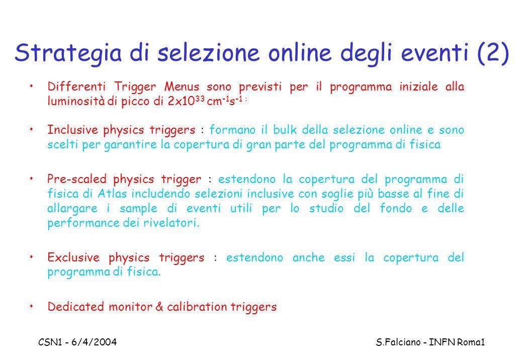 CSN1 - 6/4/2004 S.Falciano - INFN Roma1 Strategia di selezione online degli eventi (2) Differenti Trigger Menus sono previsti per il programma iniziale alla luminosità di picco di 2x10 33 cm -1 s -1 : Inclusive physics triggers : formano il bulk della selezione online e sono scelti per garantire la copertura di gran parte del programma di fisica Pre-scaled physics trigger : estendono la copertura del programma di fisica di Atlas includendo selezioni inclusive con soglie più basse al fine di allargare i sample di eventi utili per lo studio del fondo e delle performance dei rivelatori.