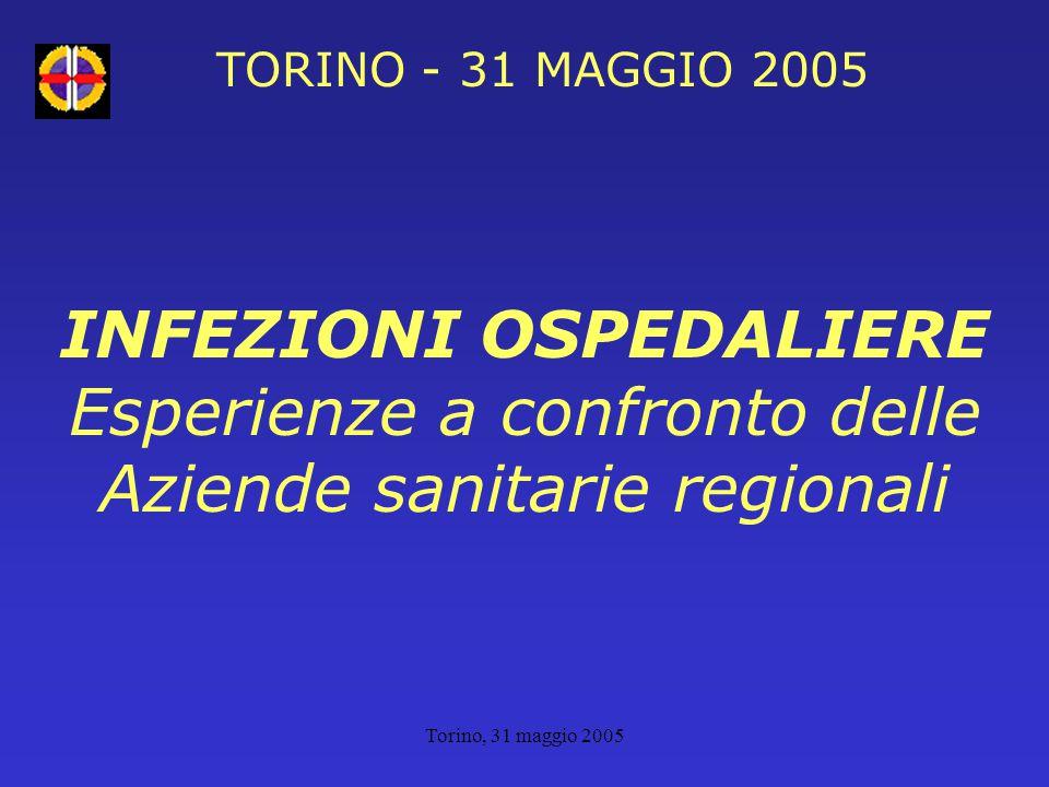 Torino, 31 maggio 2005 TORINO - 31 MAGGIO 2005 INFEZIONI OSPEDALIERE Esperienze a confronto delle Aziende sanitarie regionali