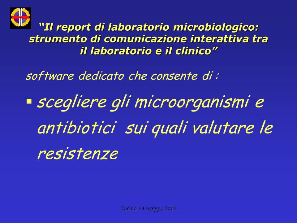 Torino, 31 maggio 2005 Il report di laboratorio microbiologico: strumento di comunicazione interattiva tra il laboratorio e il clinico software dedicato che consente di :  scegliere gli microorganismi e antibiotici sui quali valutare le resistenze