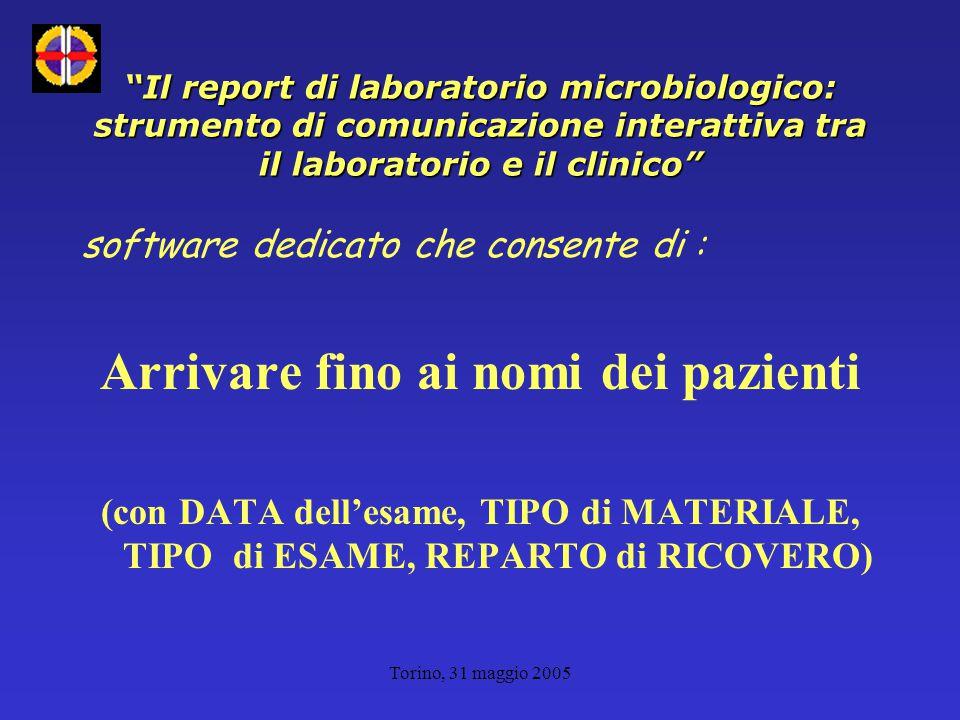 Torino, 31 maggio 2005 Il report di laboratorio microbiologico: strumento di comunicazione interattiva tra il laboratorio e il clinico software dedicato che consente di : Arrivare fino ai nomi dei pazienti (con DATA dell'esame, TIPO di MATERIALE, TIPO di ESAME, REPARTO di RICOVERO)