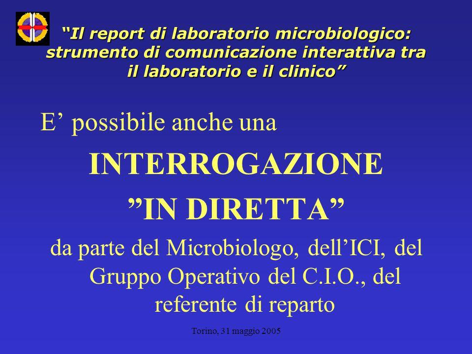 Torino, 31 maggio 2005 Il report di laboratorio microbiologico: strumento di comunicazione interattiva tra il laboratorio e il clinico E' possibile anche una INTERROGAZIONE IN DIRETTA da parte del Microbiologo, dell'ICI, del Gruppo Operativo del C.I.O., del referente di reparto