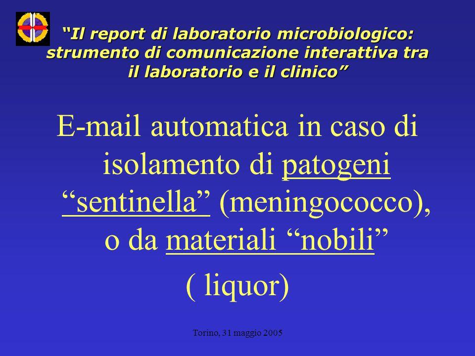 Torino, 31 maggio 2005 Il report di laboratorio microbiologico: strumento di comunicazione interattiva tra il laboratorio e il clinico E-mail automatica in caso di isolamento di patogeni sentinella (meningococco), o da materiali nobili ( liquor)