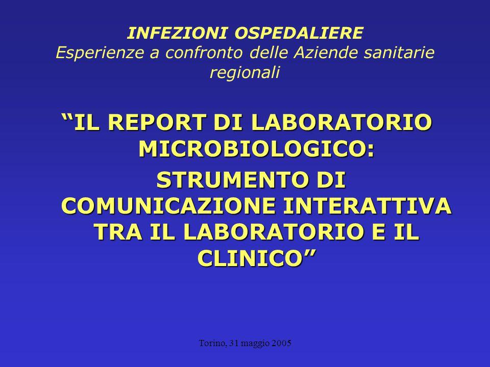 Torino, 31 maggio 2005 INFEZIONI OSPEDALIERE Esperienze a confronto delle Aziende sanitarie regionali IL REPORT DI LABORATORIO MICROBIOLOGICO: STRUMENTO DI COMUNICAZIONE INTERATTIVA TRA IL LABORATORIO E IL CLINICO STRUMENTO DI COMUNICAZIONE INTERATTIVA TRA IL LABORATORIO E IL CLINICO
