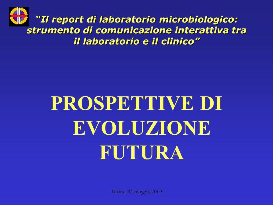 Torino, 31 maggio 2005 Il report di laboratorio microbiologico: strumento di comunicazione interattiva tra il laboratorio e il clinico PROSPETTIVE DI EVOLUZIONE FUTURA