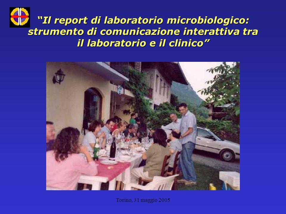 Torino, 31 maggio 2005 Il report di laboratorio microbiologico: strumento di comunicazione interattiva tra il laboratorio e il clinico