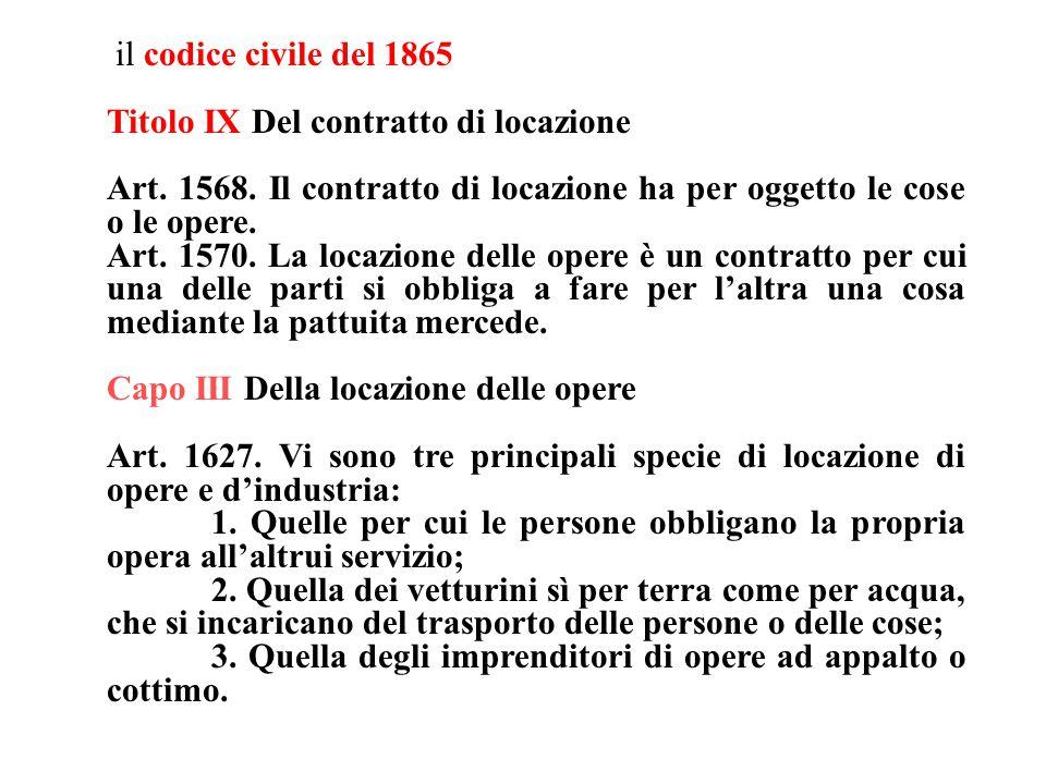 il codice civile del 1865 Titolo IX Del contratto di locazione Art.