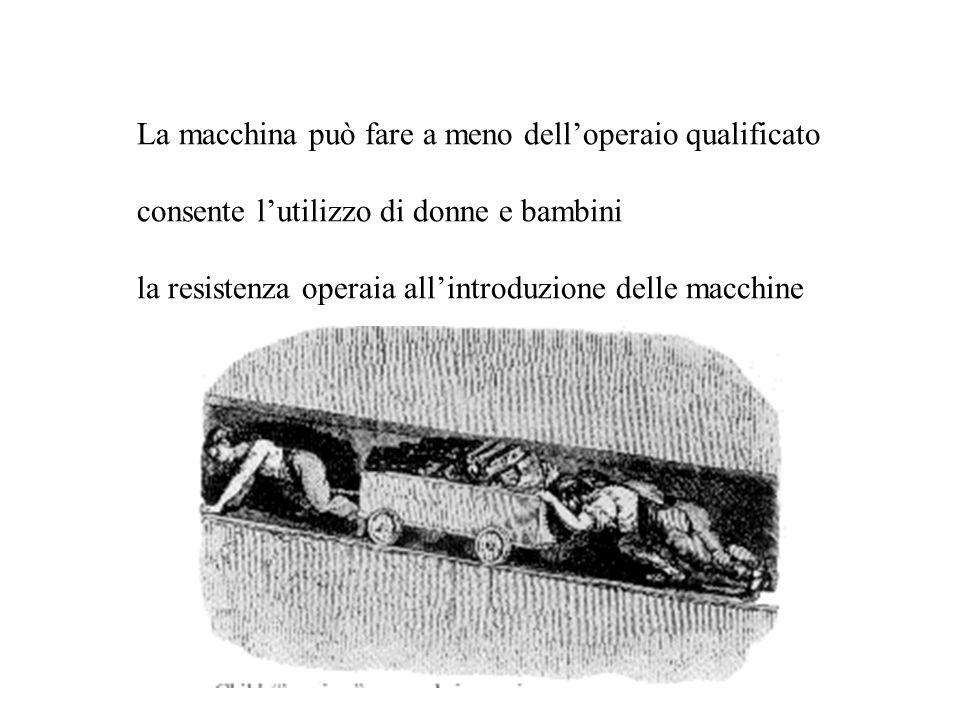 La macchina può fare a meno dell'operaio qualificato consente l'utilizzo di donne e bambini la resistenza operaia all'introduzione delle macchine