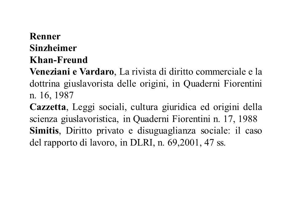 Renner Sinzheimer Khan-Freund Veneziani e Vardaro, La rivista di diritto commerciale e la dottrina giuslavorista delle origini, in Quaderni Fiorentini n.