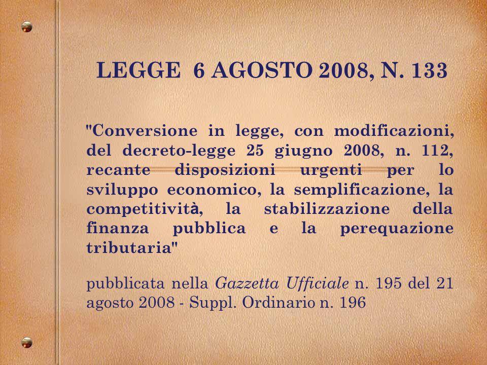 LEGGE 6 AGOSTO 2008, N.