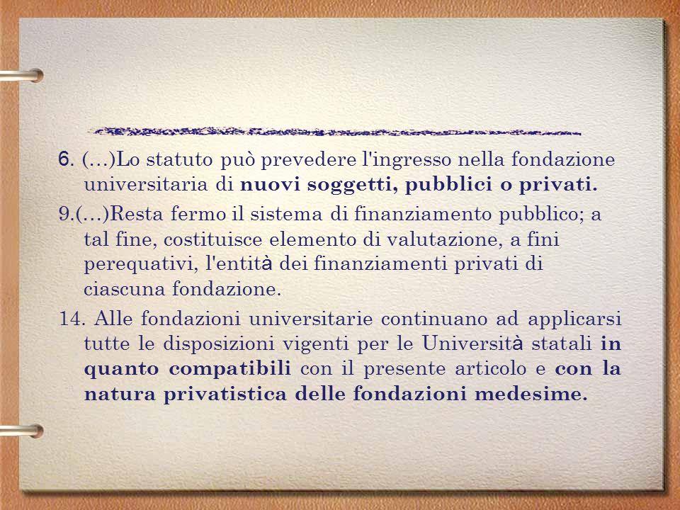 2. Le fondazioni universitarie subentrano in tutti i rapporti attivi e passivi e nella titolarit à del patrimonio dell'Universit à. ( … ) 3. Gli atti