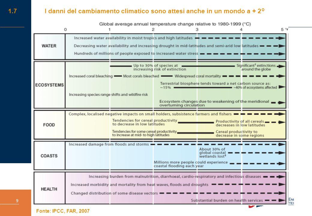 Impatti dei cambiamenti climatici e strategie di adattamento in Italia. Una valutazione economica 9 1.7I danni del cambiamento climatico sono attesi a
