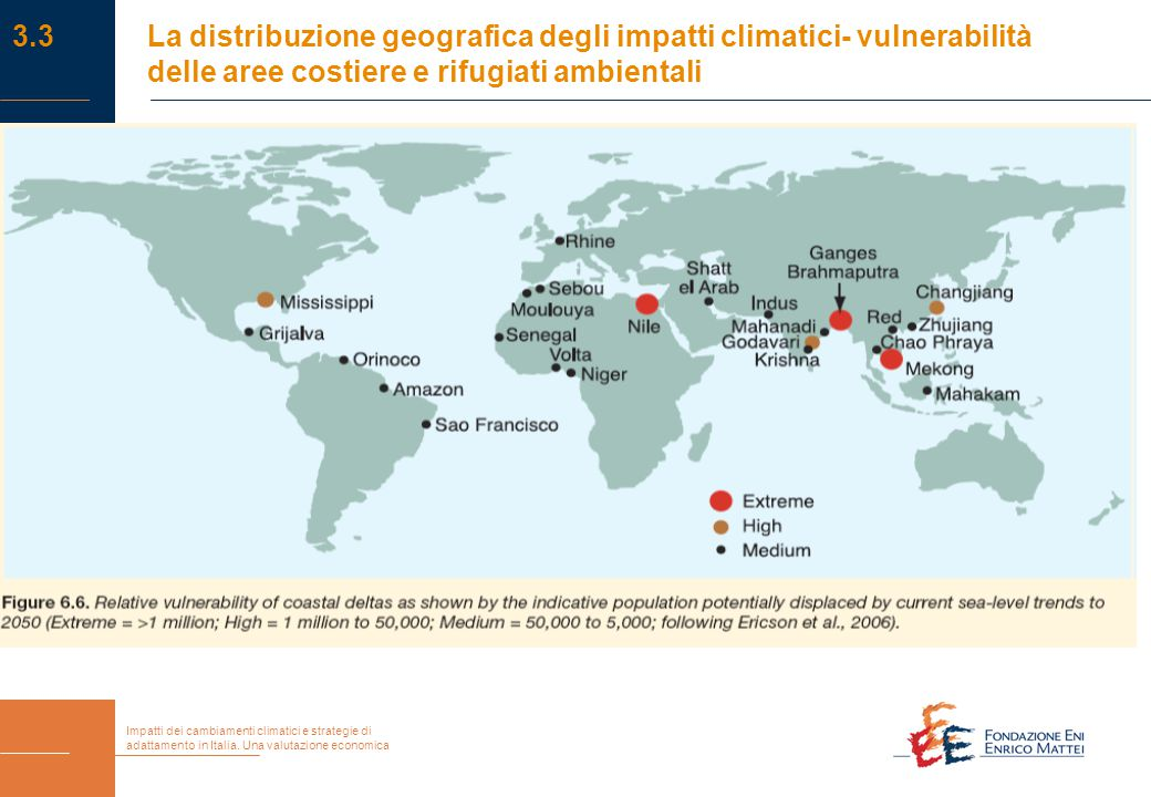 Impatti dei cambiamenti climatici e strategie di adattamento in Italia. Una valutazione economica 3.3La distribuzione geografica degli impatti climati
