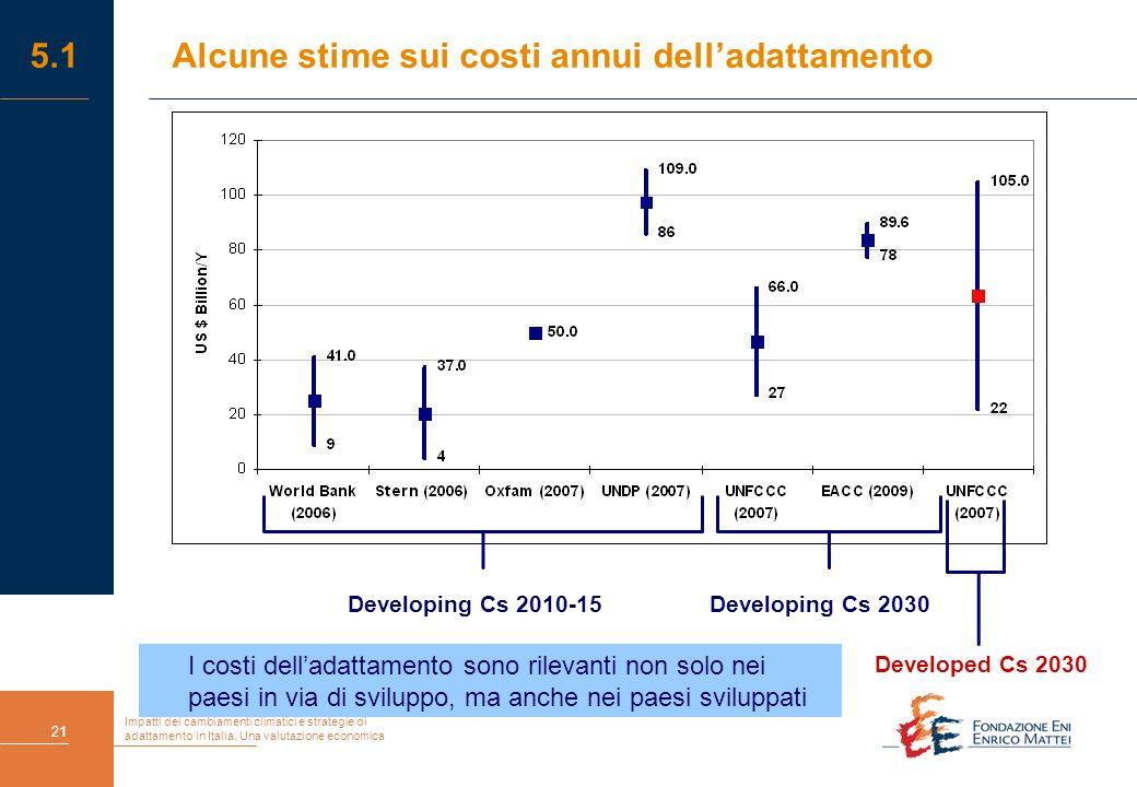 Impatti dei cambiamenti climatici e strategie di adattamento in Italia. Una valutazione economica 21 5.1 Alcune stime sui costi annui dell'adattamento