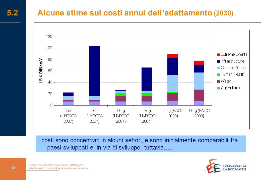 Impatti dei cambiamenti climatici e strategie di adattamento in Italia. Una valutazione economica 22 5.2Alcune stime sui costi annui dell'adattamento